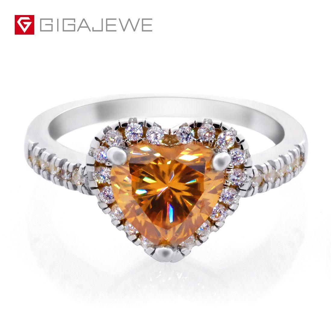 Moissanite Ring1.5ct 7.5mm Сердце вырезать золотой цвет 925 серебряное золото многослойное покрытие искусства мода любовь токен подруга подарок