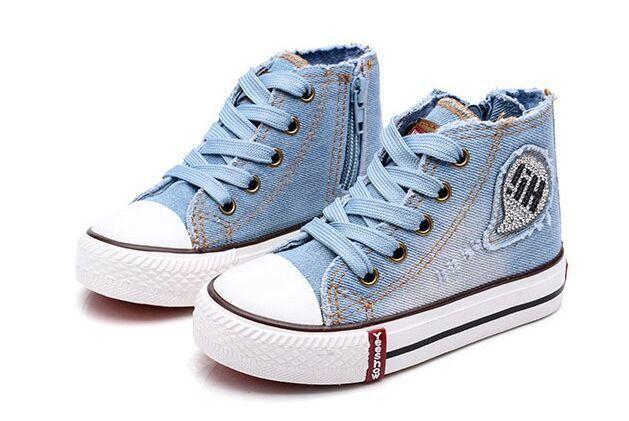 وصل 2019 حجم جديد 25-37 الأطفال عارضة أحذية أطفال قماش أحذية رياضية الفتيان الجينز الشقق الفتيات الأحذية الدنيم الجانب سستة الأحذية