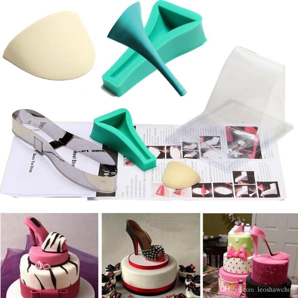Neue 3D-Dame-Absatz-Schuh-Kit Silikon Fondantform Zucker, Schokolade, Kuchen Dekor Schablone Mould Weihnachten, Geburtstag, Hochzeit Partei-Kuchen-Form