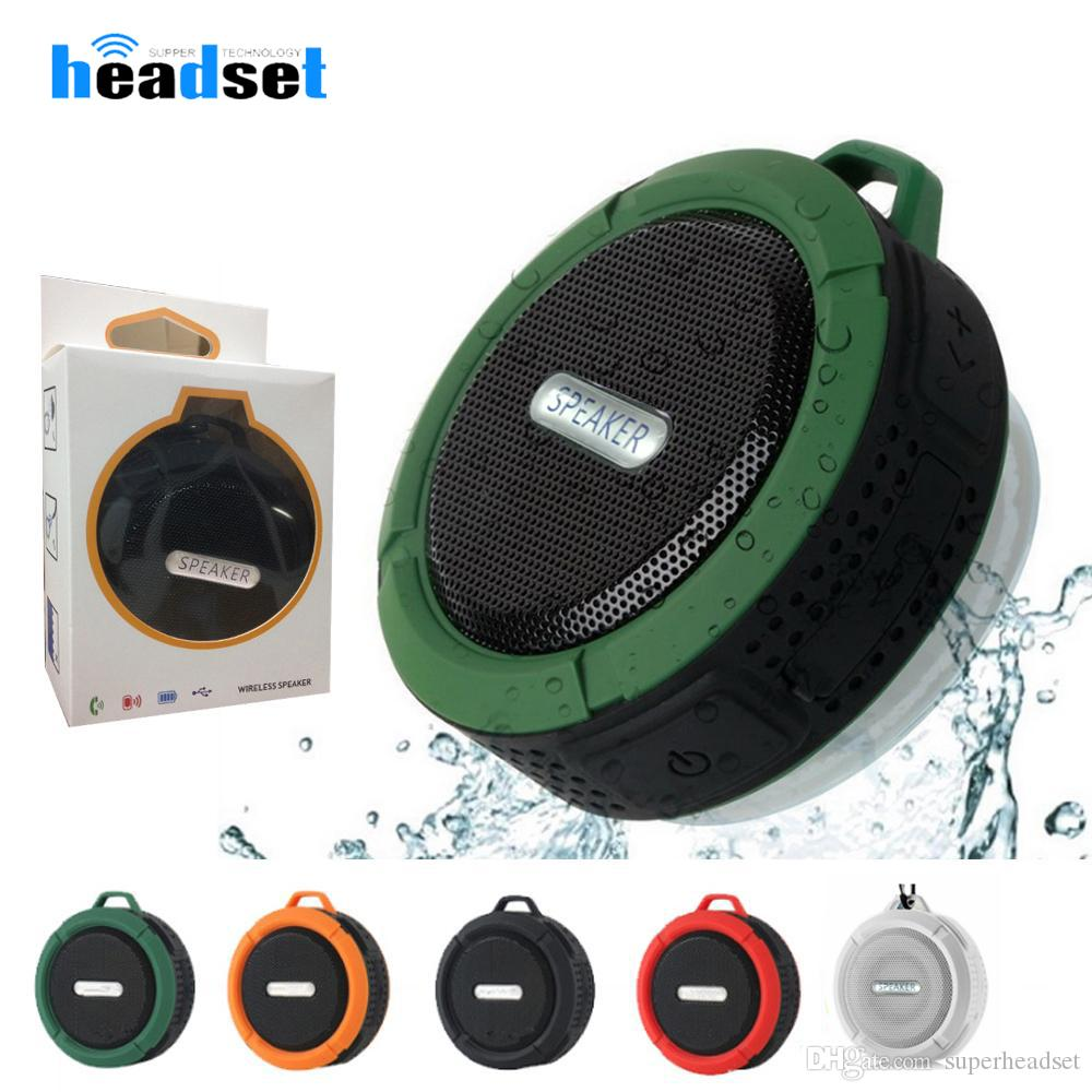 C6 Wireless Bluetooth speakers Waterproof Shower Speaker Drive Stereo Music Player With Snap Hook Suction Cup for smartphones