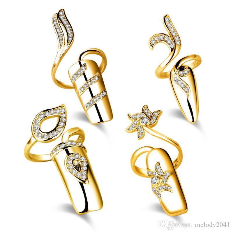한국어 패션 라인 석 섬세 한 네일 커버 반지 여성 보석 디자인 반짝 이는 손가락 공동 링 합금 실버 및 골드 오프닝 반지