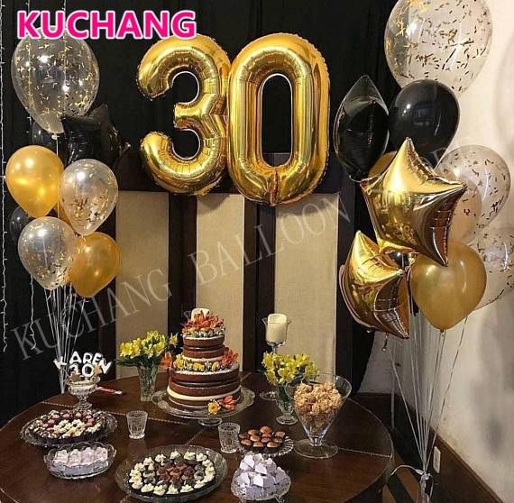 21pcs Lot 40 Inch Gold Number 30 Foil Balloons Latex Scrap 30th