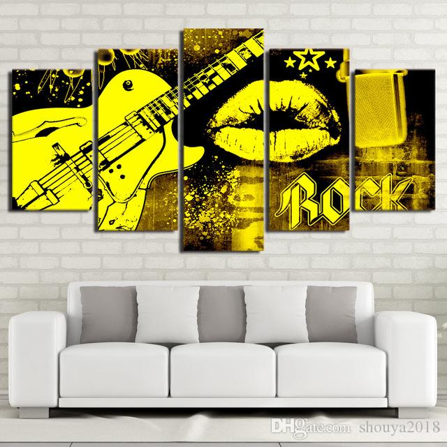Free shipping Hot Sale 5 Pieces Guitar Rock Music Mouth Kiss Canvas Painting Pictures Art Oil Poster Wall Pictures Modern Spray Painting