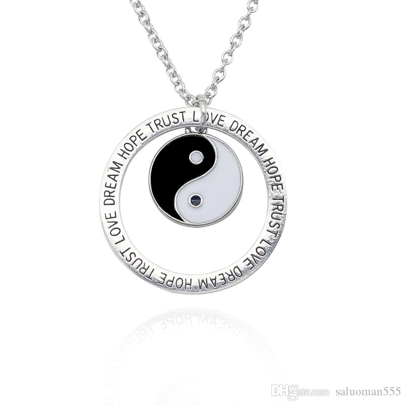 Eight Trigrams Alloy Pendant Chain Dome Necklace Yin Yang Tai Chi Vintage Jewelry DIY Gift Statement Necklace For Men And Women