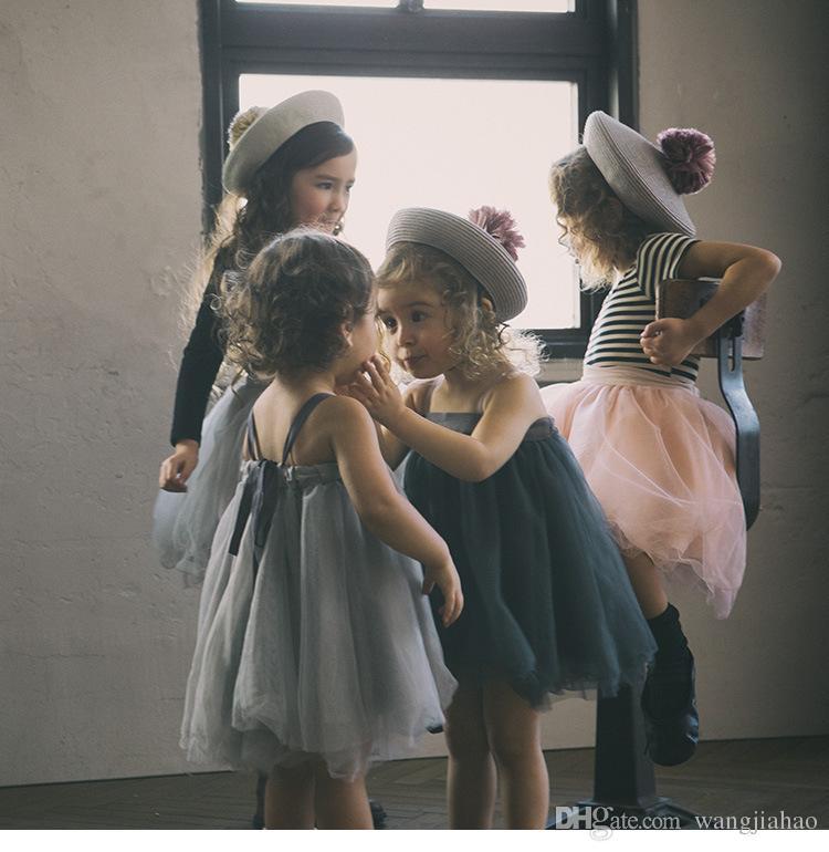 2018 INS styles 3 couleur nouvelle arrivée Fille barboteuse robe enfants été sans manches de haute qualité coton mignon Ballet jupe de danse fille élégante robe