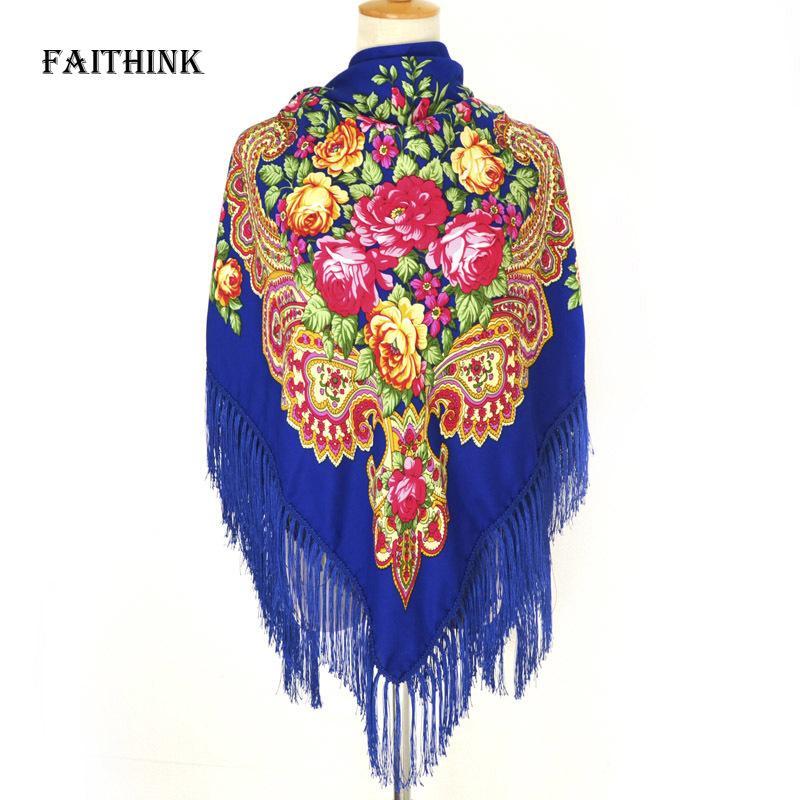 [FAITHINK] Fashion Russian Women Large Tassel Square Scarf Shawl Brand Female Warm Cotton Bufandas Poncho Summer Shadow Scarves S18101904