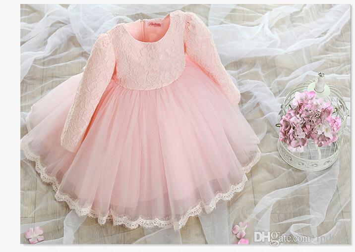 Chá Comprimento Flor Meninas Vestidos Lace Mangas Compridas Rosa, Marfim Meninas Vestidos de Festa Com Zíper de Volta Vestido de Baile Barato Grande Venda