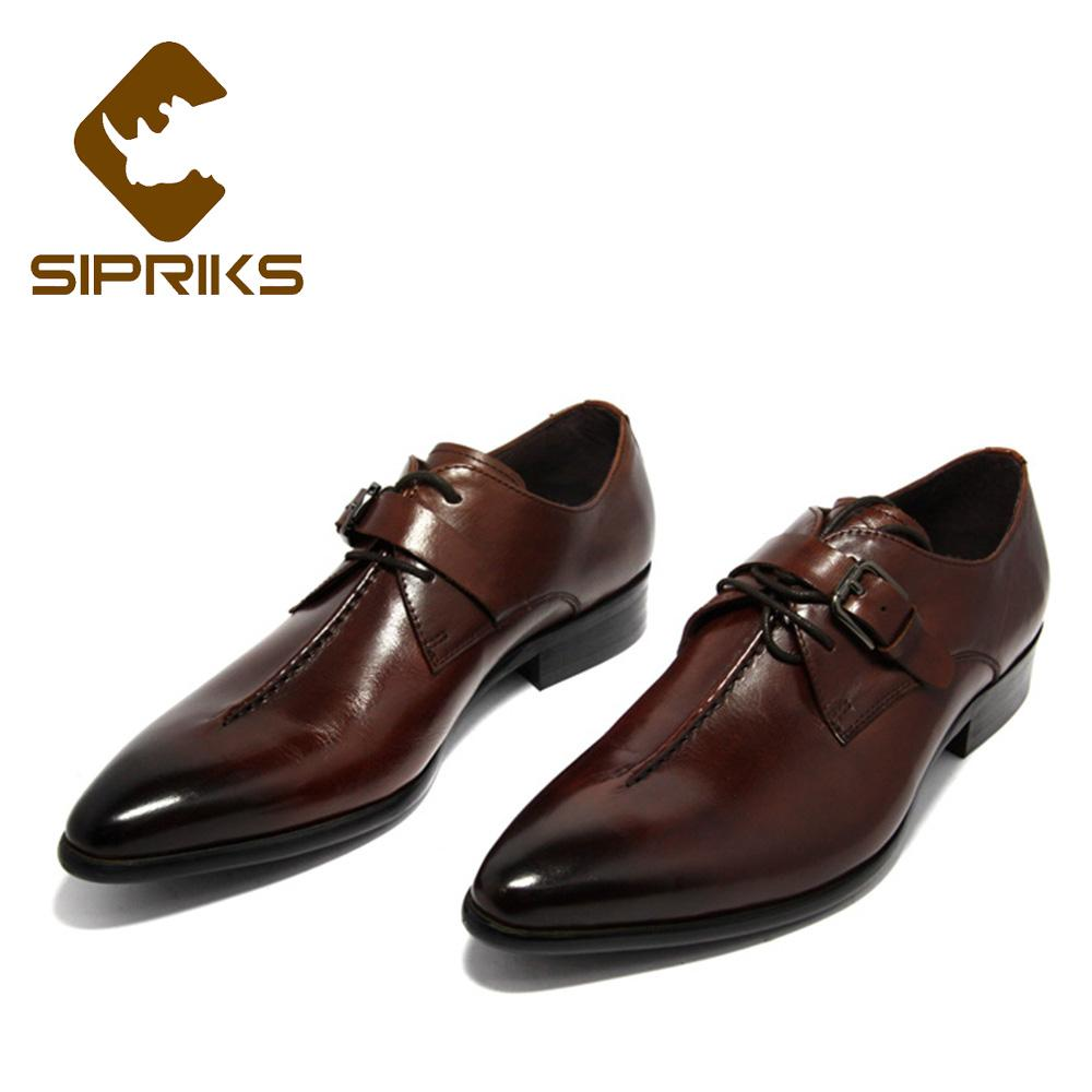 Sipriks Men Single Monk Strap Shoes Pointed Toe Derby Shoes With Buckle Straps Boss Genuine Leather Red Brown Wedding Shoe
