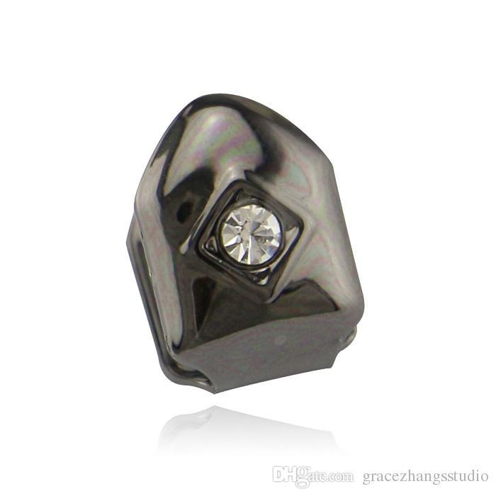 uomini Hip Hop Diamond Tooth Bretelle Denti Grillz Dental 0.8*1.2cm Oro rosa LQ