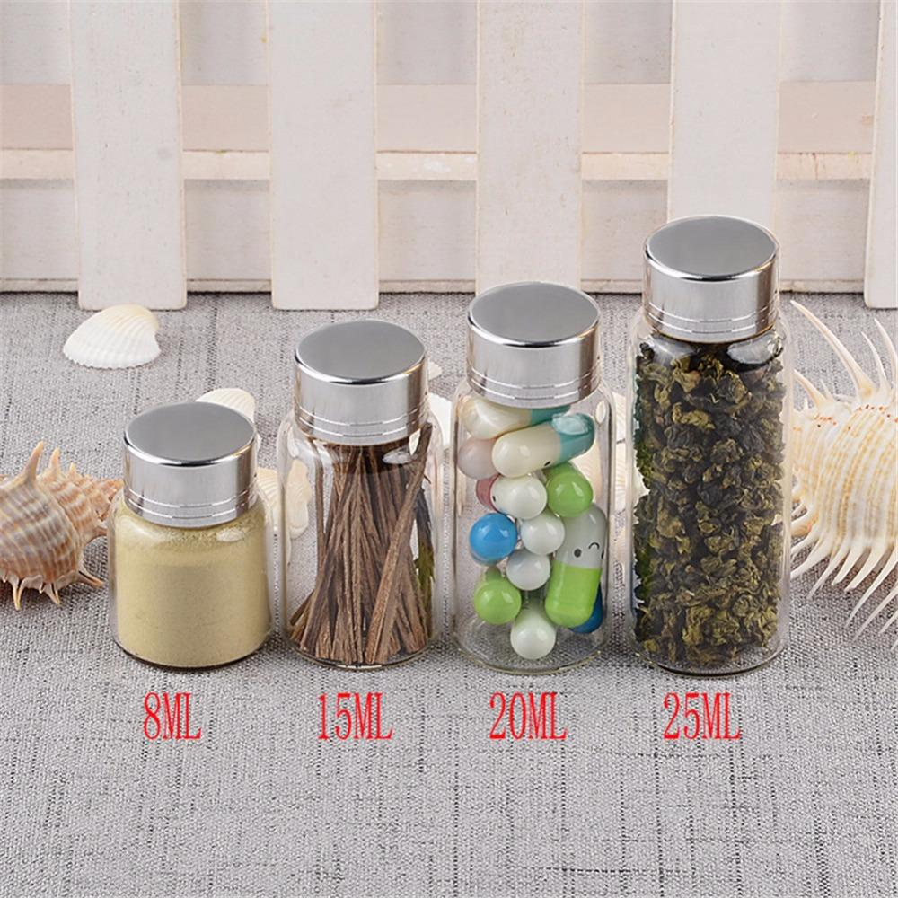 Mini Glass Bottles With Silver Swivelling Cover Glass Bottles Screw Caps Weding Gift Jars Wholesale1