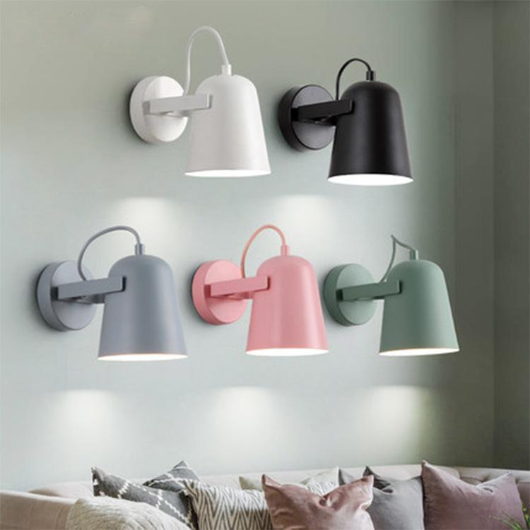 Moderno Led Iluminación de la pared interior Lámpara de hierro forjado Macarons Aplique de pared nórdico Mesilla de noche Aisel Lámpara de lectura Luminaria