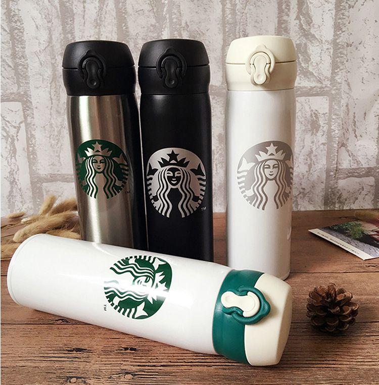 Starbucks Paslanmaz Çelik Su Şişesi Taşınabilir Bardak Kahve Su Bardağı çift Duvar Yalıtımlı Otomobil Bira Kupalar Kahve Kupa Seyahat Şişe 6 Renkler