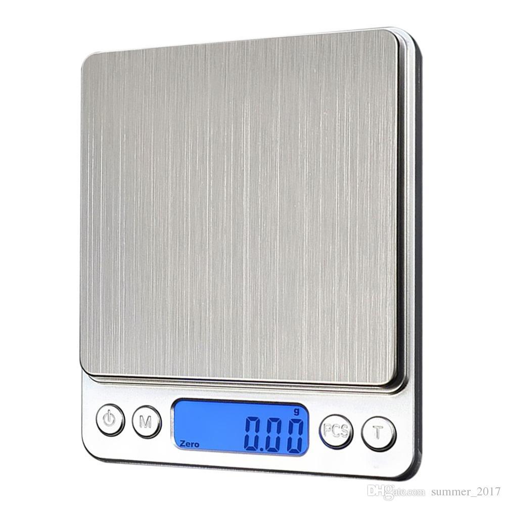 المحمولة الرقمية المطبخ مقاعد البدلاء المنزلية ميزان الوزن الرقمية مجوهرات الذهب الإلكترونية الجيب الوزن + 2 الصواني التوازن
