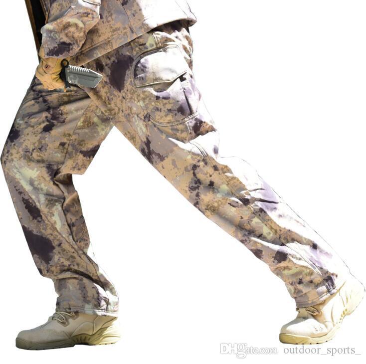 Deportes al aire libre más terciopelo piel de tiburón pantalones de cáscara suave para hombres pantalones para caminar pantalones de lana ventas directas de fábrica