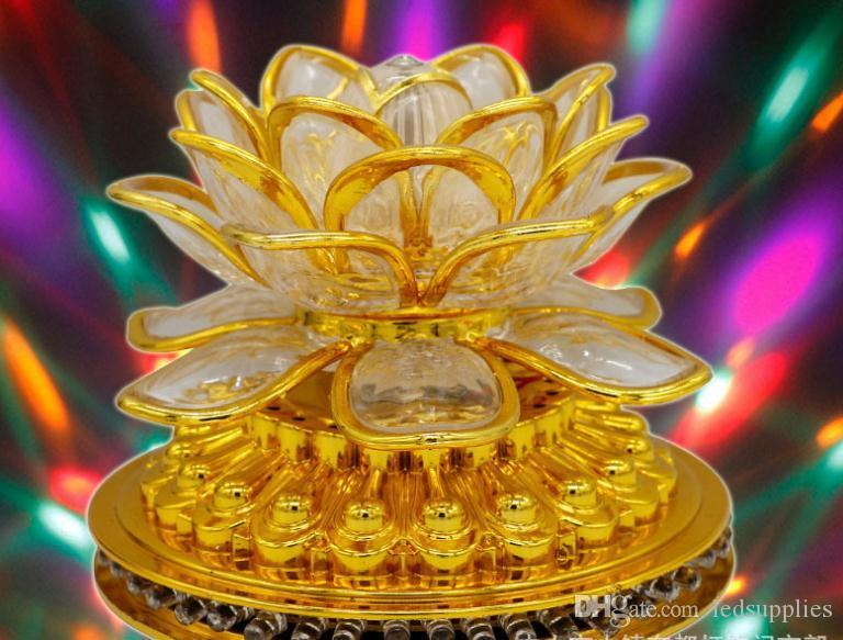 Светодиодное маленькое солнце вращающийся Лотос Будда свет красочный цветок лотоса КТВ бар праздник декоративный фонарь AC85v-250v
