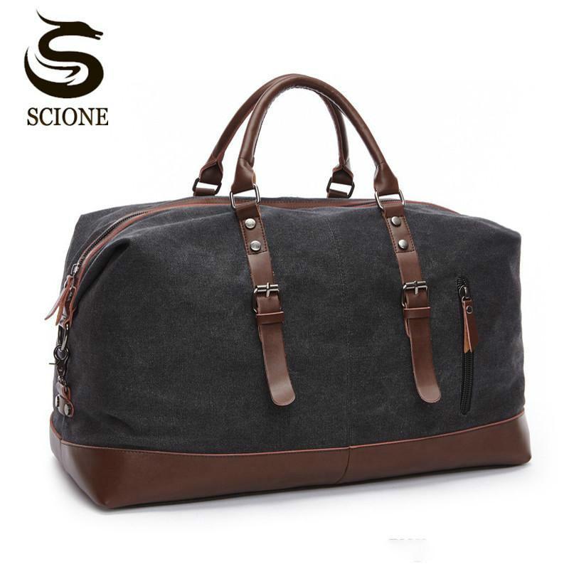 Scione холст кожа мужчины дорожные сумки ручной клади сумка мужчины вещевые сумки путешествия тотализатор большой мешок выходных ночь мужской сумки