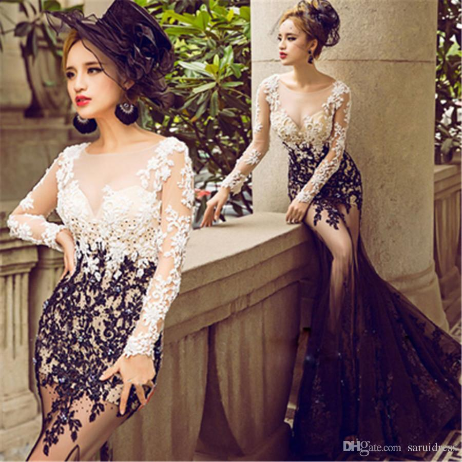 Summer Beach Sheer Neck Black Lace Mermaid Long Sleeve Wedding Dresses Two Stones See Through Slim Bridal Dress Dress Wedding Grecian Wedding Dress From Saruidress 158 3 Dhgate Com