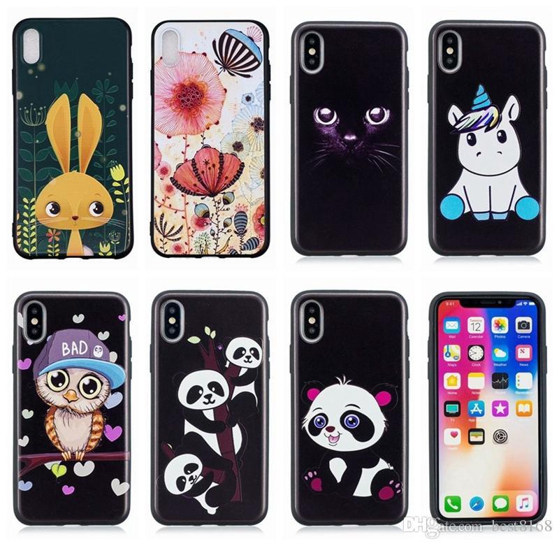 For Iphone XR XS MAX X 10 8 7 Plus 6 SE 5 5S Fashion Emboss Soft TPU Case Leopard Tiger Panda Unicorn Owl Cute Cartoon Phone Black Gel Cover