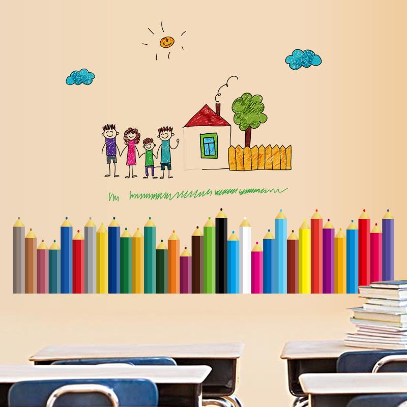 Pencils baseboard sticker waterproof for kids classrooms mural removable wall stickers home decor