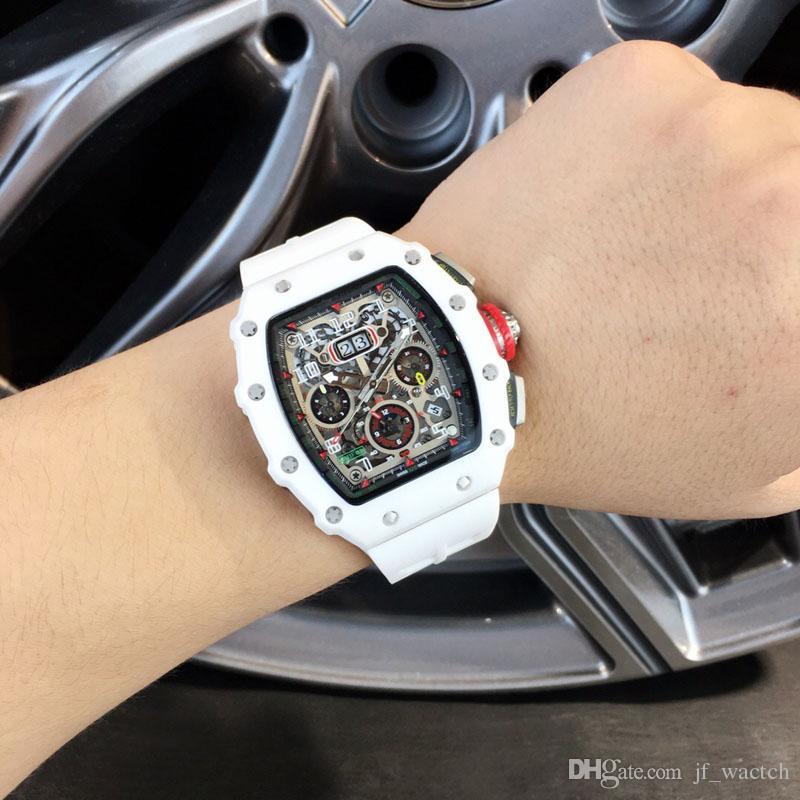 2019 İsviçre üst marka spor İzle erkekler iyi mekanik İzle deri kayış moda askeri Saatı Monaco serisi konsept izle