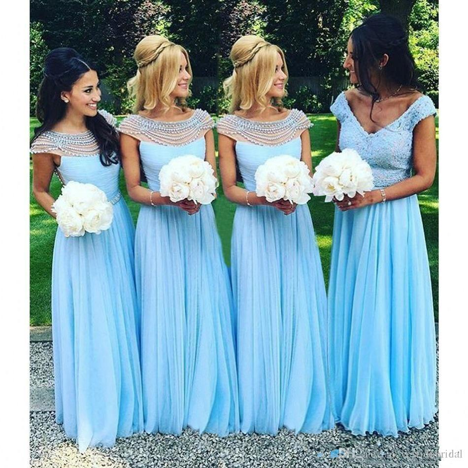 Light blue bohemian bridesmaid dress cheap 2018 beaded collar light blue bohemian bridesmaid dress cheap 2018 beaded collar chiffon a line wedding guest party gown ombrellifo Image collections