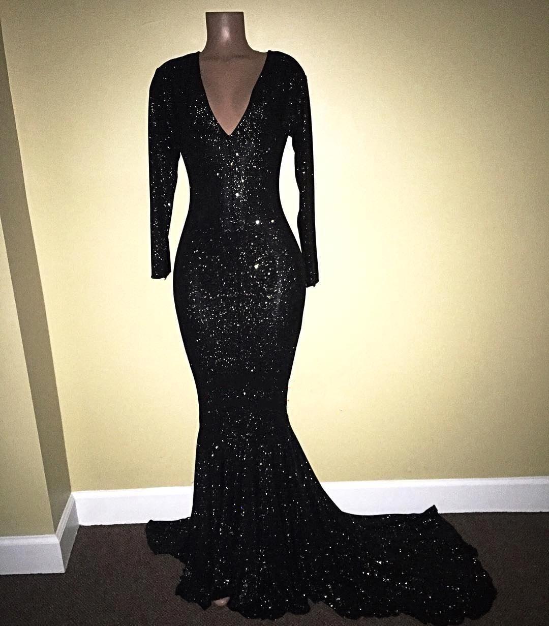 2018 блестками платья глубокий V-образным вырезом с длинным рукавом платья выпускного вечера Blin Bling Русалка Swwep поезд вечерние платья ME012