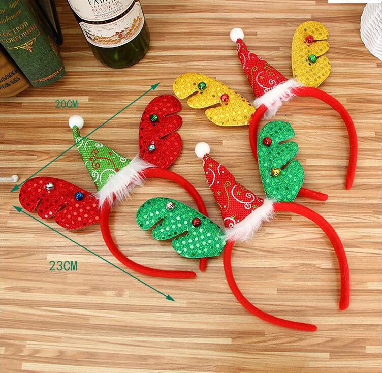 Kırmızı Altın Yeşil Çan Ile Noel Boynuzları Kafa Bandı Ücretsiz Boyutu Parti Kişilik Pul Bandı Sahne Kafa Süslemeleri