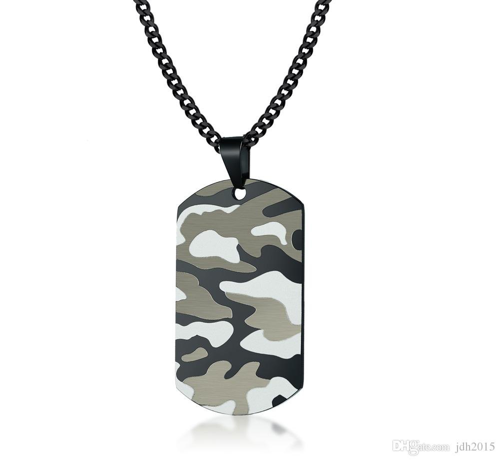 Military Army Party Stainless Steel Men's Women Cool Camouflage Camo ID Tag Necklaces-Free Custom