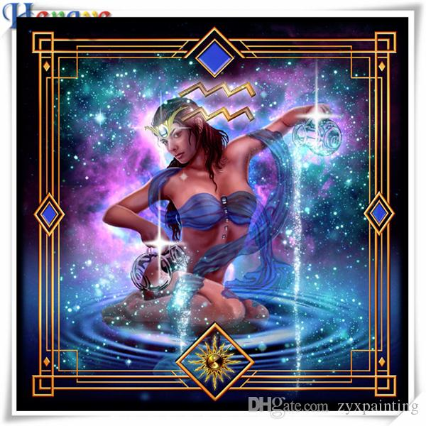 Rhinestone bordado lleno de diamantes bordado gente chica acuario 5D diy diamante pintura punto de cruz kit mosaico casero decoración regalo AA0400
