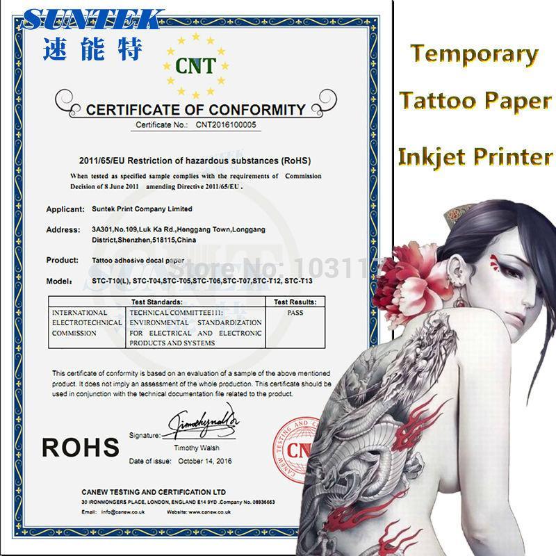 Sgs Certificate A4 Temporary Tattoo Paper Tattoo Sticker Water Transfer Paper Film Sheets For Inkjetlaser Printers Diy Tattoos Paper Tattoo Permanent