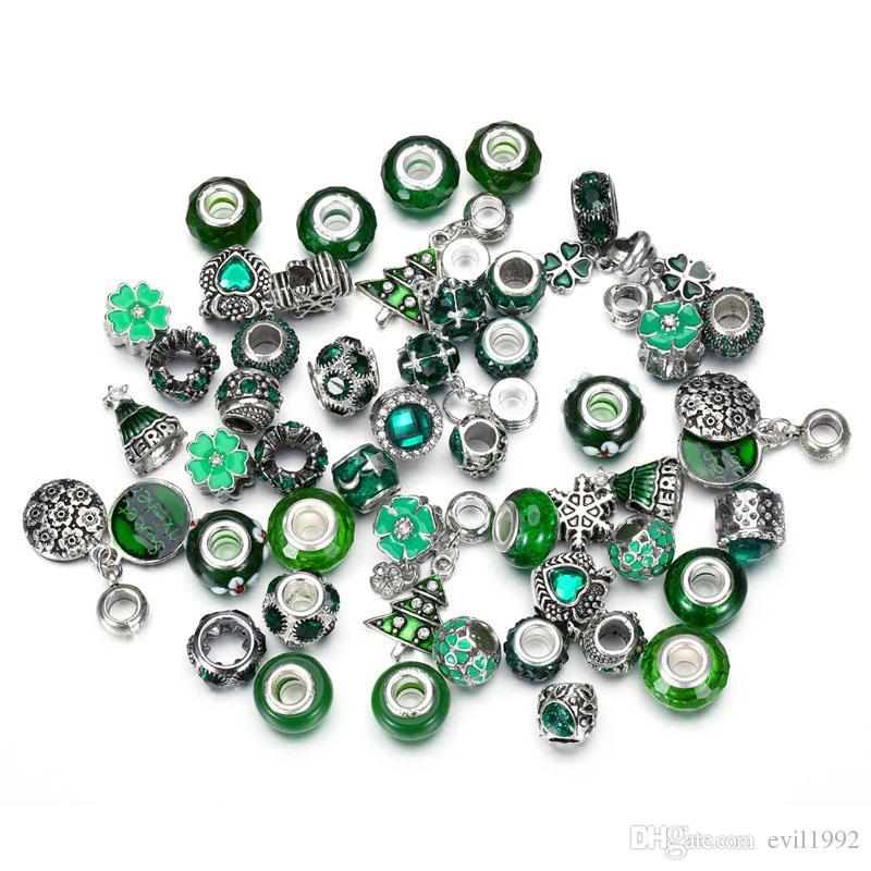 50PCS 25 Styles Wholesale Pink Green Crystal Alloy Beads Charms Fits Pandora DIY Jewelry European Bracelets Bangles Women Girls Gifts B020