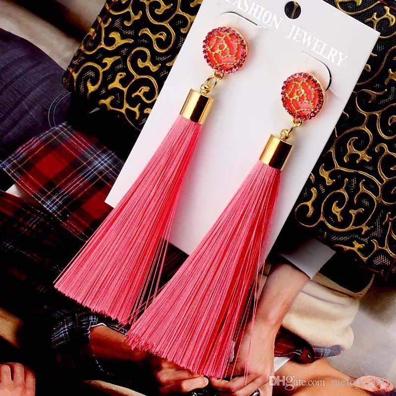 Gold Rose Aushöhlen Frauen Ohrringe Bunte Fransen Ohrringe Mode Quasten Ohrring 2018 Schmuck Für Frauen 9 Farben