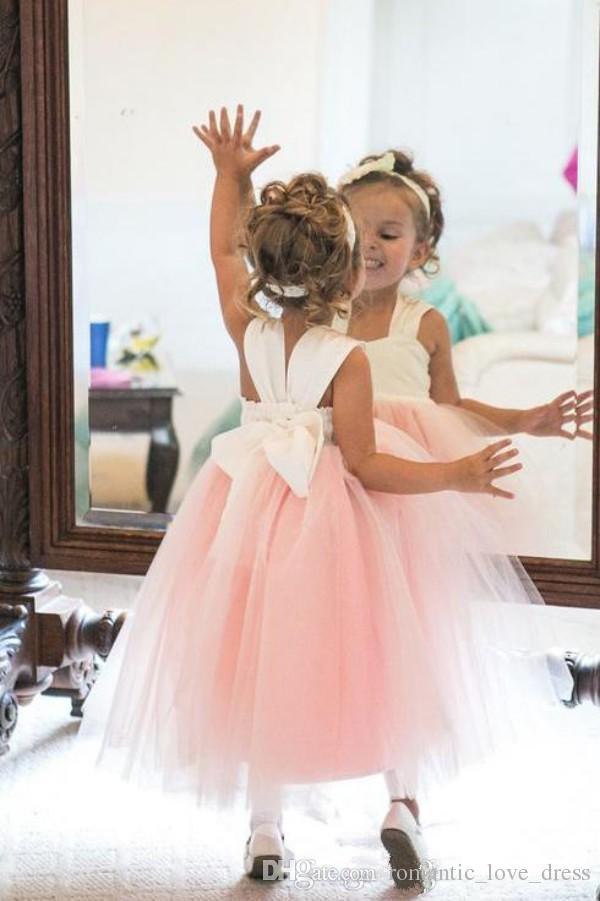 Blanc et Rose Princesse Fleur Filles Robes Correspondant Arc Robe De Bal Cheville Longueur Tulle Enfant Première Communion Robes 2019 Nouveau Design F010