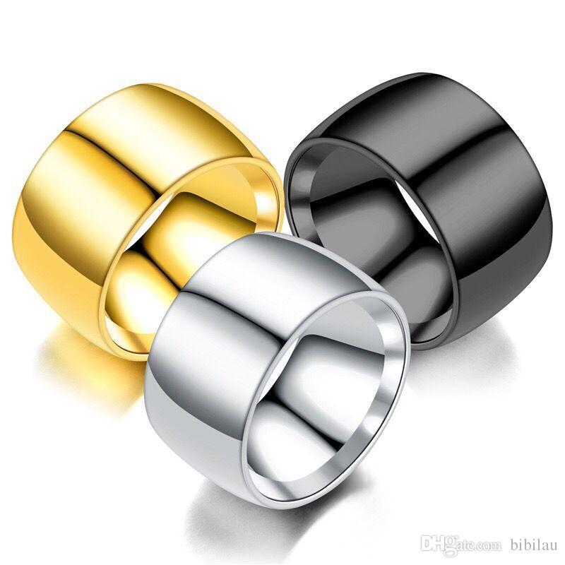 MGFam (271R) 316L титана стали Гладкие Большие широкие кольца для успешных мужчин 18k / черный / белый позолоченном Нет Fade