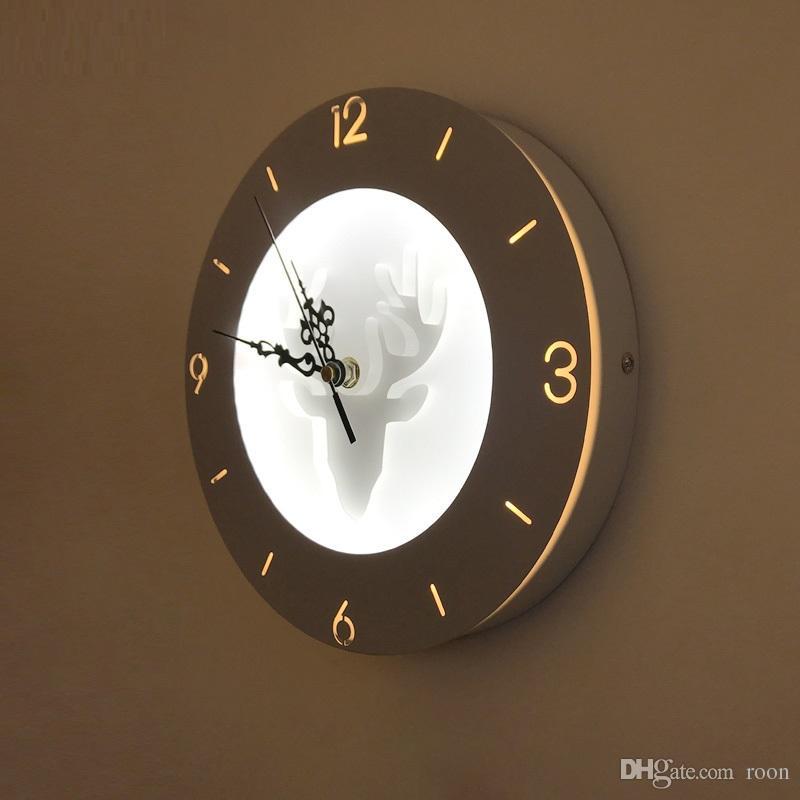 22 W Lâmpadas de Parede com função de relógio acrílico abajur Luz Arandela para Sala de estar Quarto Corredor da Cabeceira casa decorar luz da parede-RNB38