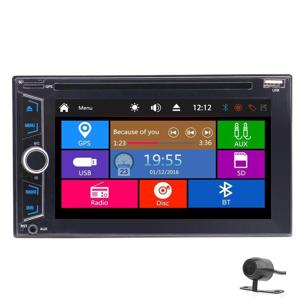EinCar 6.2 ''유니버설 더블 2Din 자동차 DVD 플레이어 자동 라디오 GPS 네비게이션 스테레오 라디오 FM AM 블루투스 AUX USB RDS + IR 리모컨 + 백 카메라