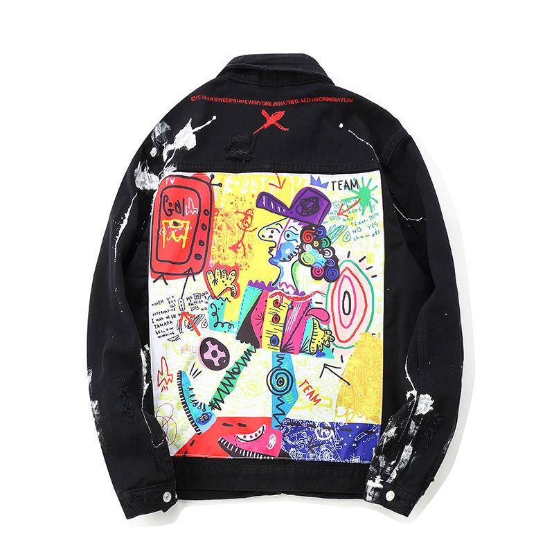 ABOORUN Mens Hip Hop Denim Chaquetas de gran tamaño Graffiti Painted Jeans Chaquetas de los hombres de la marca Ripped Coat Streetwear x1282