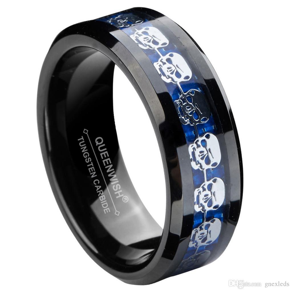 Anello in carburo di tungsteno nero da 8 mm Anello in argento con teschio intarsio Fancy Engagement Rings Black Friday Gifts
