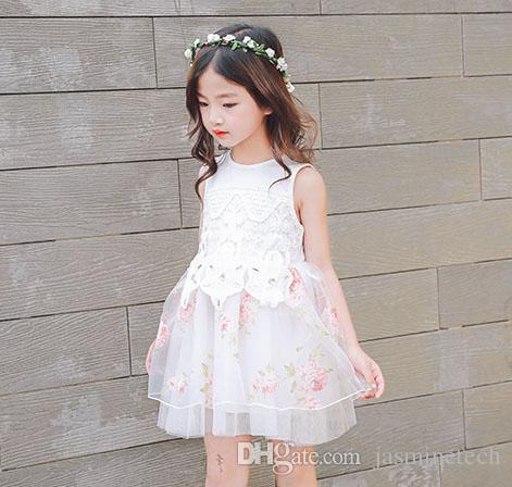 7a55b7bcc children girl dress Lovely Girls summer yarn printing dress fashion design  small girls dress kids clothing clothes