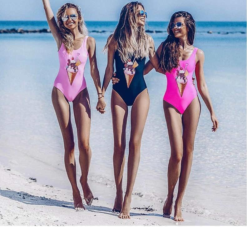 Леди бикини Сексуальная спинки сплошной цвет бикини мороженое печати цельный купальник бестселлер популярные женские бикини Оптовая продажа