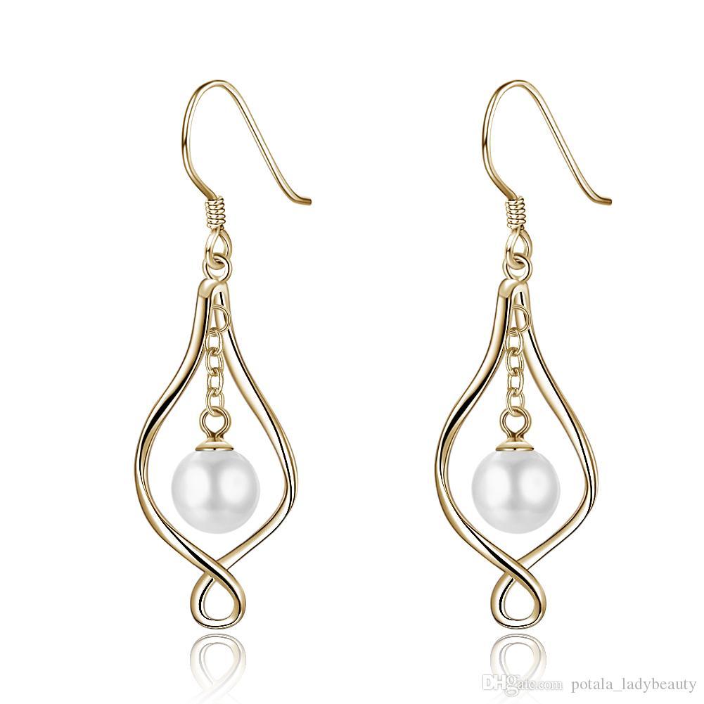 Gold S925 Sterling Silver Earrings Luxury Pearl Ear Hook Famous Brand POTALA008 Jewelry Finding Fashionable stud earrings Girlfriends gifts