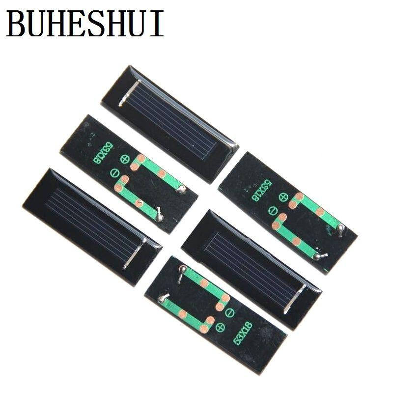 BUHESHUI 다결정 소형 미니 태양 전지 패널 모듈 0.5V 250MASolar 세포 교육 키트 연구 100pcs / lot 에폭시 53 * 18 * 2.5MM