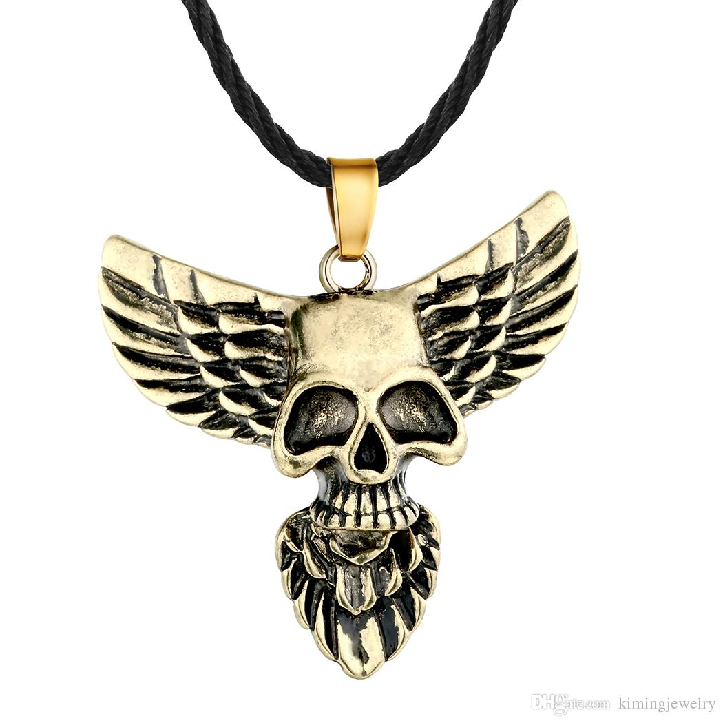 5pcs/lot Skull Head Eagle Wing Pendant Necklace Gothic Jewelry Men's Fashion Punk Accessaries Hiphop Maxi Classic Luxury