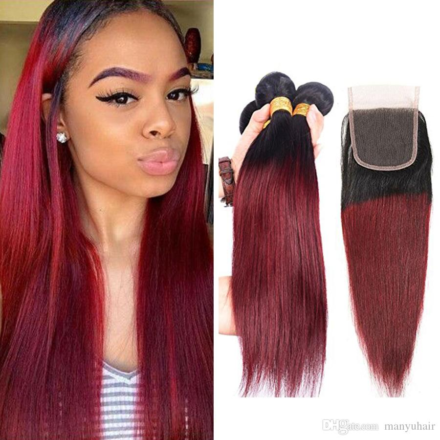 8A Ombre Brazilian Silky Straight Virgin Hair Weaves Two Tone 1B99J Burgundy Wine Red Peruvian Malaysian 3 Bundles With Closure 4Pieces/Lot