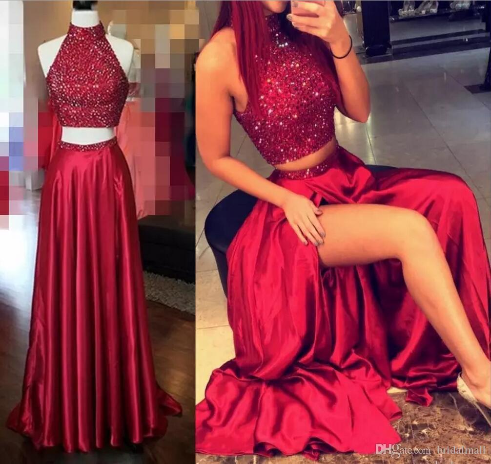Vestido de fiesta Shinning dos piezas de vestidos de baile de cuello alto Crystal rebordear rojo oscuro hueco reverso de Split vestidos de noche largo de cóctel formal