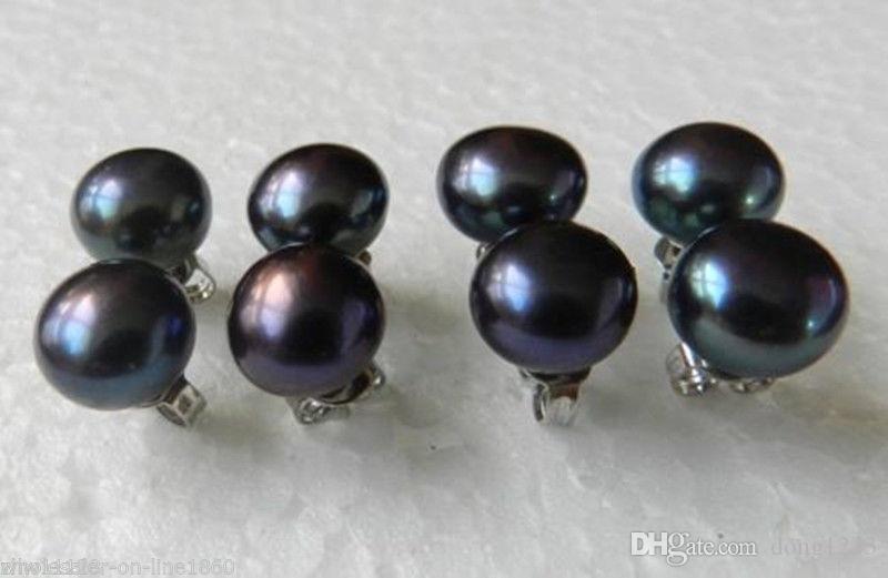 5pc 7-8mm Boucles d'oreilles pour femmes noires à la mode 925 Argent Stud poire d'eau douce