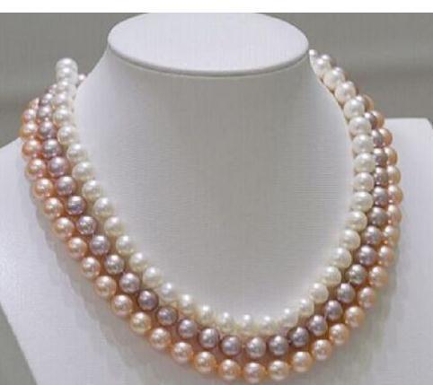 Élégant triple brins 7-8mm ronde mer du sud blanc violet rose collier de perles 18 pouces 19 pouces 20 pouces fermoir