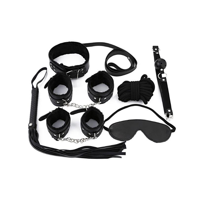 7Pieces/set BDSM Sex Bondage Restraint Kit Games Erotic Accessories for Couples Mask Collar Mouth Gag Handcuffs Sex Toys