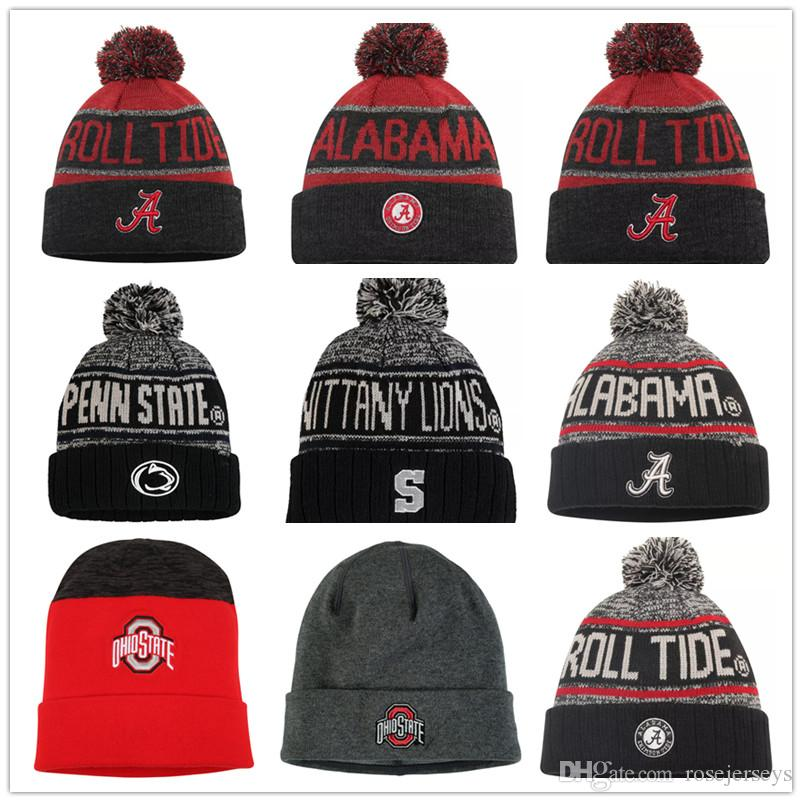 Bonnets tricotés NCAA Ohio State Buckeyes Alabama Crimson Tide Penn État Nittany Lions Heathered Charcoal Noir Gris Rouge Stitched Chapeaux