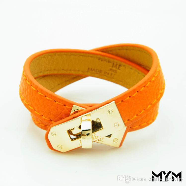 Vintage Leather multistrato Pu H bracciali per le donne braccialetti del polsino Uomini oro fibbia Wristband Pulseras Hombre Maschio Gioielleria